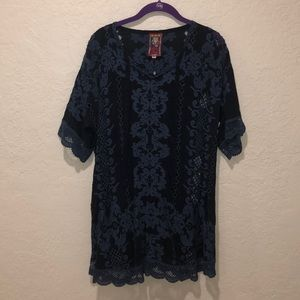 COPY - Navy Embroidered Tie Neck Johnny Was Blouse